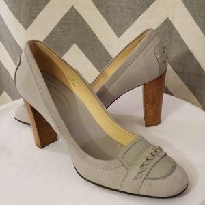 Tod's grey suede and patent pumps size 40